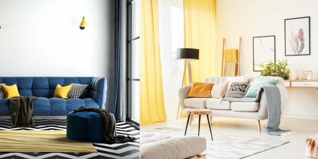 Zwei beispielhafte Wohnzimmer mit gelben Accessoires wie Kissen und Gardinen
