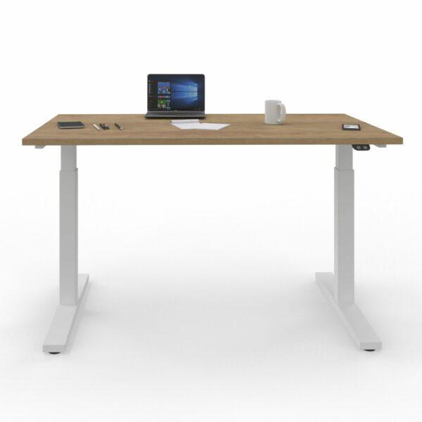 Nowy Styl eUP2 elektromotorischer Steh- und Sitzarbeitstisch – Tischplatte NZ Natural Hickory und Gestell weiß