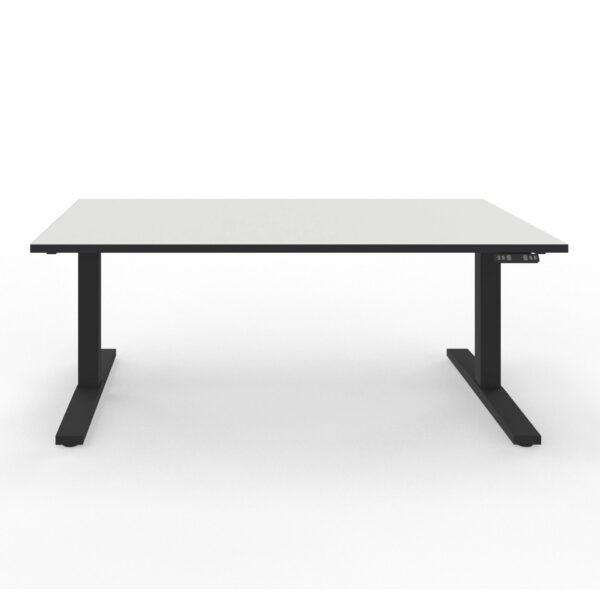 Nowy Styl eUP3 elektromotorischer Steh- und Sitzarbeitstisch – Tischplatte weiß Gestell schwarz und Tischkante schwarz