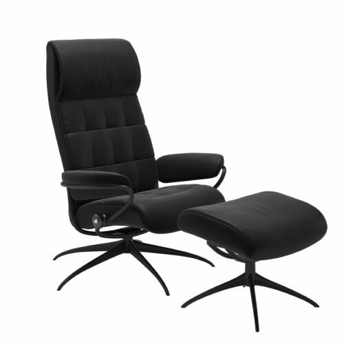 "Stressless ""London"" Sessel High Back mit Hocker schwarz – Gestell schwarz"