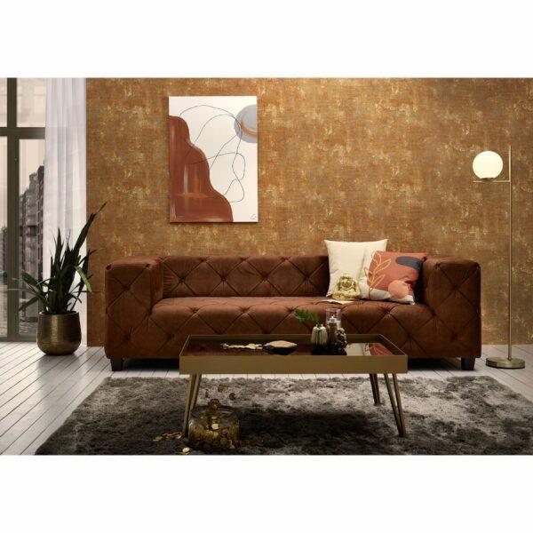 "Trendstore ""Dilia"" Sofa 3-Sitzer mit Bezug Samtvelours Amour 5515 picante im Milieu."
