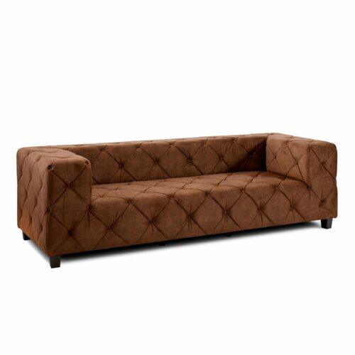 """Trendstore """"Dilia"""" Sofa 3-Sitzer mit Bezug Samtvelours Amour 5515 picante in seitlicher Ansicht."""