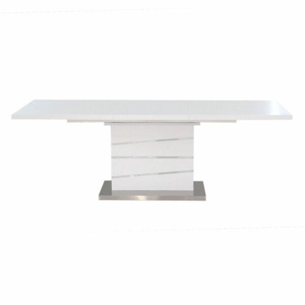 """Trendstore """"Millant"""" Esstisch mit weiß lackierter ausgezogener MDF Tischplatte und einem Gestell in MDF überzogen mit gebürstetem Edelstahl."""