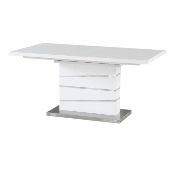 """Trendstore """"Millant"""" Esstisch mit weiß lackierter MDF Tischplatte und einem Gestell in MDF überzogen mit gebürstetem Edelstahl."""
