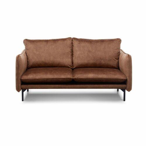"""Trendstore """"Vanessa"""" Sofa 2,5-Sitzer mit Bezug Adore Copper und Füßen aus Metall in Schwarz."""