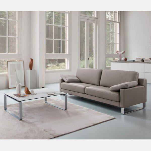 Rolf Benz Ego Sofa in Leder beigegrau - Wohnbeispiel