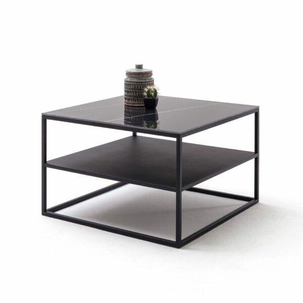 """Raum.Freunde """"Marko 3"""" Couchtisch Keramikplatte in schwarz Marmoroptik mit Ablage Wohnbeispiel"""