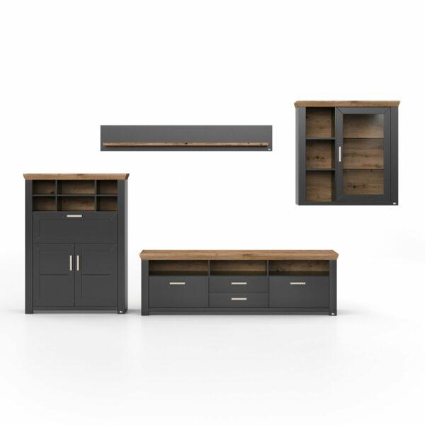 set one by Musterring York Kombination 11 mit einer Deckplatte in Eiche Artisan und einem Korpus in Grau Anthrazit in frontaler Ansicht.