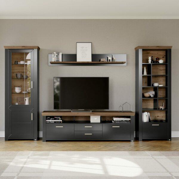 set one by Musterring York Kombination 03 mit einer Deckplatte in Eiche Artisan und einem Korpus in Grau Anthrazit im Milieu.