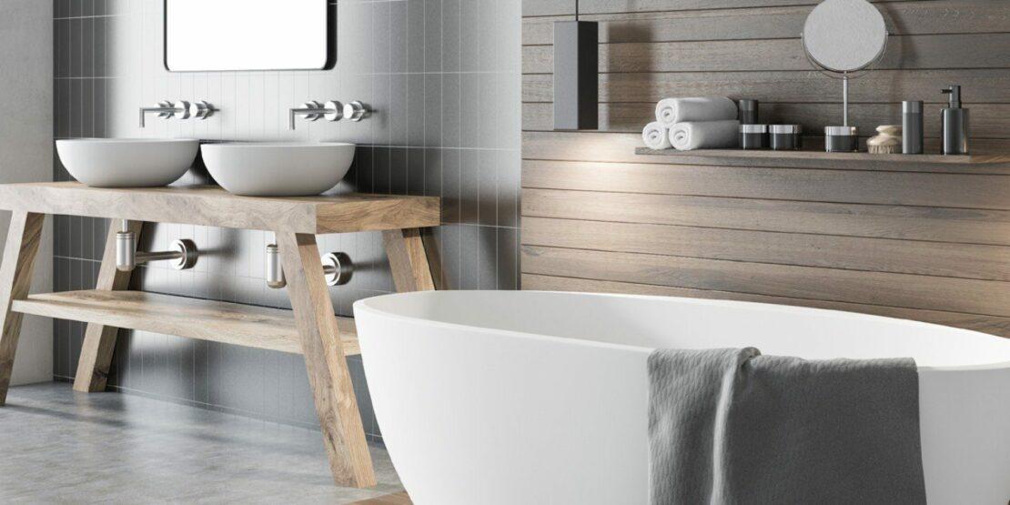 Beispielhaftes Bad mit Einrichtungselementen in Holz