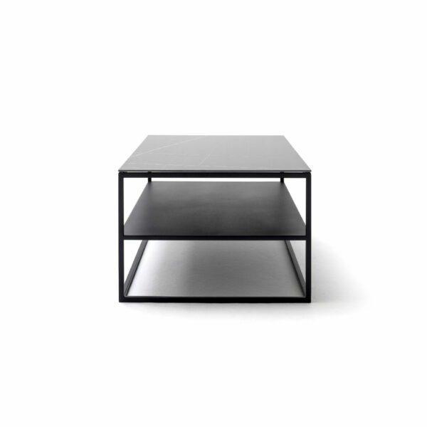 """Raum.Freunde """"Alex"""" Couchtisch Tischplatte in Keramik Marmoroptik schwarz Seitenansicht"""