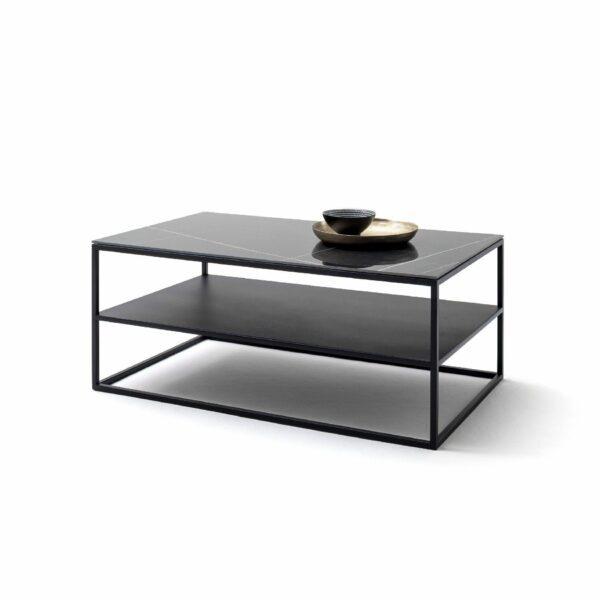 """Raum.Freunde """"Alex"""" Couchtisch Tischplatte in Keramik Marmoroptik schwarz Wohnbeispiel"""