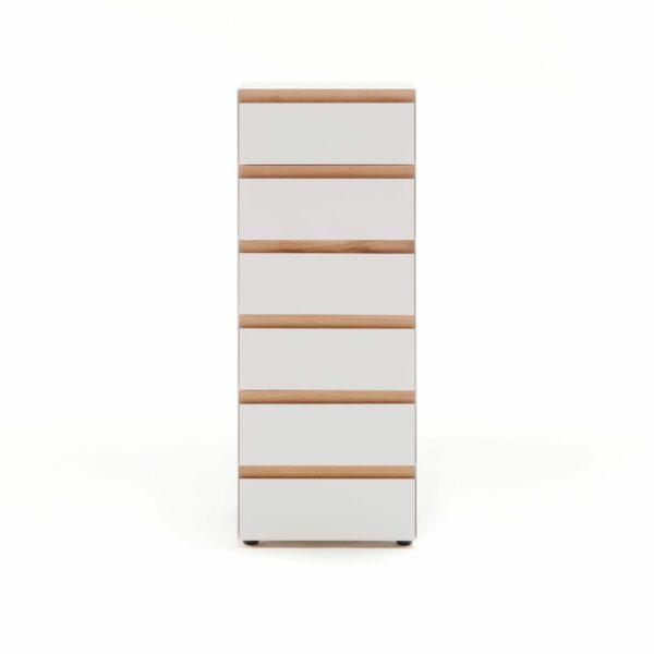 """Raumfreunde """"Göte"""" Hochkommode in weiß matt lackiert mit sechs Schubladen in frontaler Ansicht."""