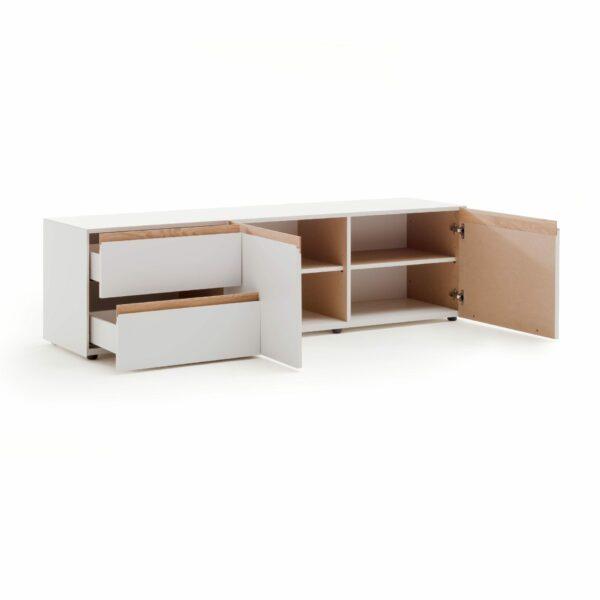 """Raumfreunde """"Göte"""" Lowboard in weiß matt lackiert mit zwei offenen Schubladen und zwei offenen Türen in seitlich frontaler Ansicht."""