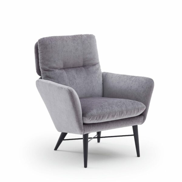 """Raumfreunde """"Torge"""" Sessel mit Textilbezug in Grau in seitlicher Ansicht von links."""