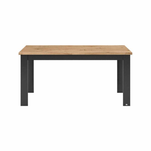 """set one by Musterring """"Type 62"""" Esstisch mit einer Tischplatte in Eiche Artisan und einem Tischgestell in Grau Anthrazit in frontaler Ansicht."""