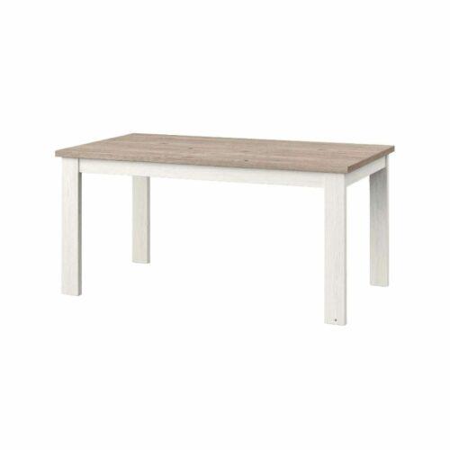 """set one by Musterring """"Type 62"""" Esstisch mit einer Tischplatte in Eiche Nelson und einem Tischgestell in Pino Aurelio in seitlich frontaler Ansicht."""