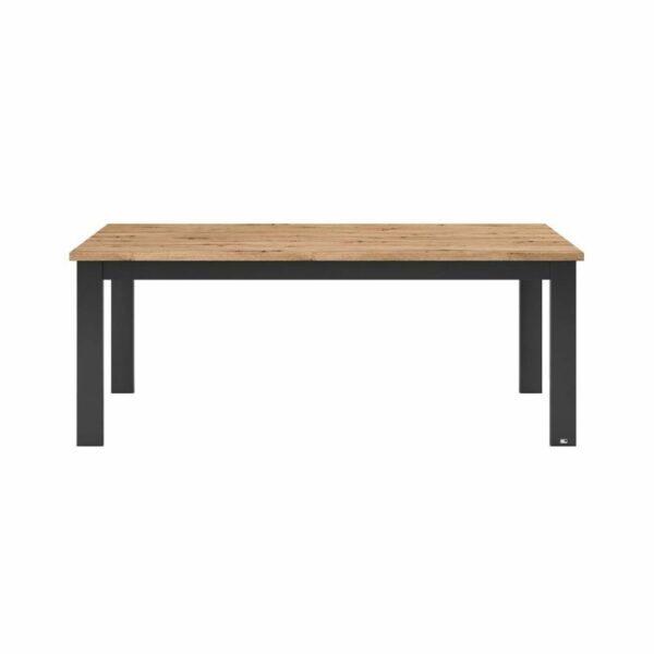 """set one by Musterring """"Type 63"""" Esstisch mit einer Tischplatte in Eiche Artisan und einem Tischgestell in Grau Anthrazit in frontaler Ansicht."""