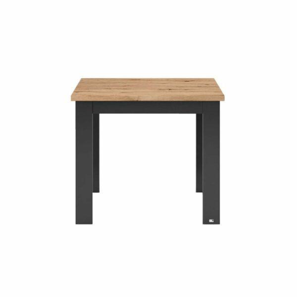"""set one by Musterring """"Type 66"""" Esstisch mit einer Tischplatte in Eiche Artisan und einem Tischgestell in Grau Anthrazit in frontaler Ansicht."""