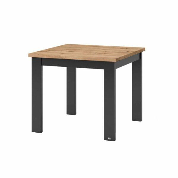 """set one by Musterring """"Type 66"""" Esstisch mit einer Tischplatte in Eiche Artisan und einem Tischgestell in Grau Anthrazit in seitlich frontaler Ansicht."""