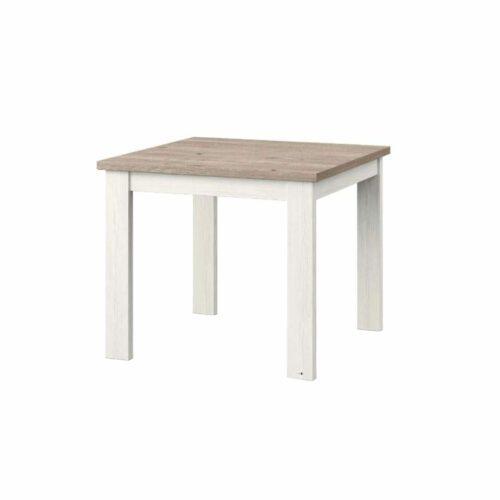 """set one by Musterring """"Type 66"""" Esstisch mit einer Tischplatte in Eiche Nelson und einem Tischgestell in Pino Aurelio in seitlich frontaler Ansicht."""