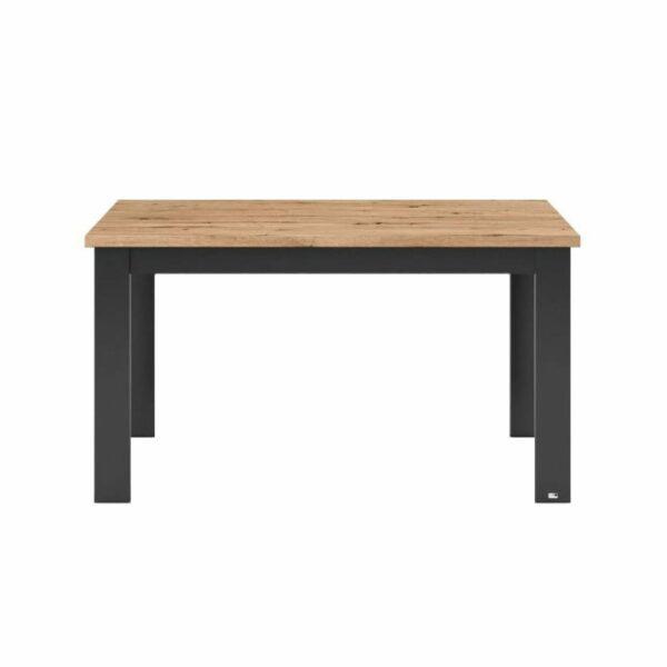 """set one by Musterring """"Type 67"""" Esstisch mit einer Tischplatte in Eiche Artisan und einem Tischgestell in Grau Anthrazit in frontaler Ansicht."""