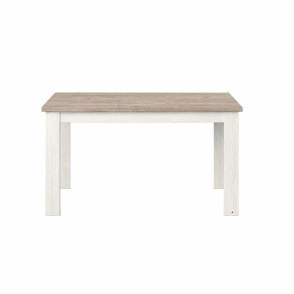 """set one by Musterring """"Type 67"""" Esstisch mit einer Tischplatte in Eiche Nelson und einem Tischgestell in Pino Aurelio in frontaler Ansicht."""