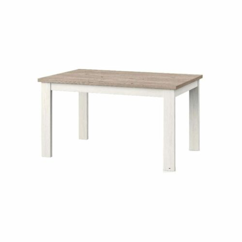 """set one by Musterring """"Type 67"""" Esstisch mit einer Tischplatte in Eiche Nelson und einem Tischgestell in Pino Aurelio in seitlich frontaler Ansicht."""