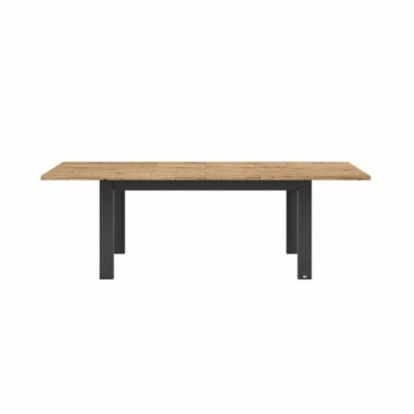 """Set one by Musterring """"Type 68"""" Esstisch mit einer Tischplatte in Eiche Artisan und einem Tischgestell in Grau Anthrazit in frontaler Ansicht."""