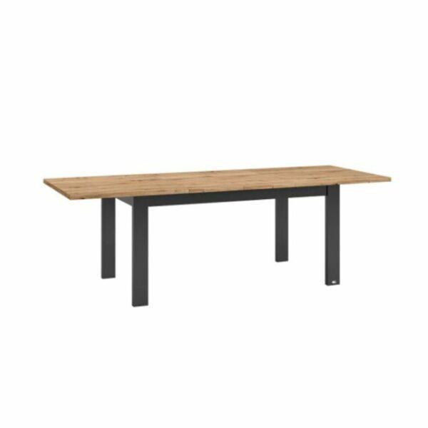 """Set one by Musterring """"Type 68"""" Esstisch mit einer Tischplatte in Eiche Artisan und einem Tischgestell in Grau Anthrazit in seitlich frontaler Ansicht."""