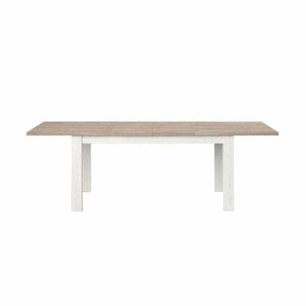 """Set one by Musterring """"Type 68"""" Esstisch mit einer Tischplatte in Eiche Nelson und einem Tischgestell in Pino Aurelio in frontaler Ansicht."""