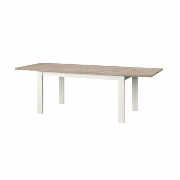 """Set one by Musterring """"Type 68"""" Esstisch mit einer Tischplatte in Eiche Nelson und einem Tischgestell in Pino Aurelio in seitlich frontaler Ansicht."""