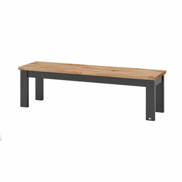 """set one by Musterring """"Type 61"""" Sitzbank mit einer Sitzfläche in Eiche Artisan und einem Gestell in Grau Anthrazit in seitlich frontaler Ansicht."""