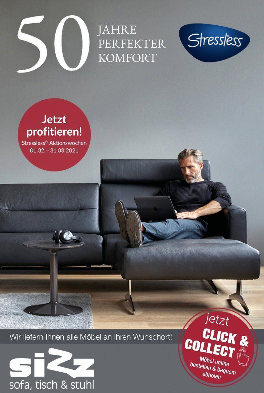 Stressless Prospekt SIZZ - Sofa, Tisch & Stuhl