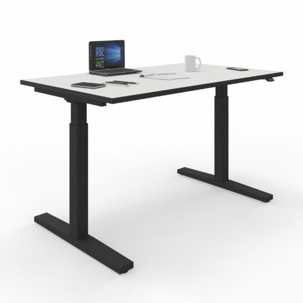 Nowy Styl eUP2 elektromotorischer Steh- und Sitzarbeitstisch weiß – Gestell und Tischkante schwarz
