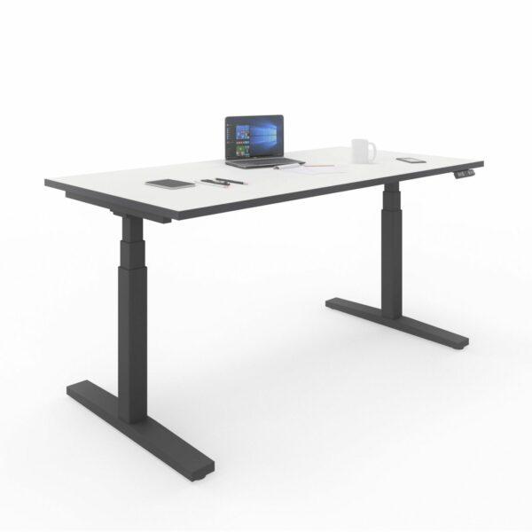 Nowy Styl eUP3 Arbeitstisch weiß – Gestell schwarz mit Tischkante schwarz