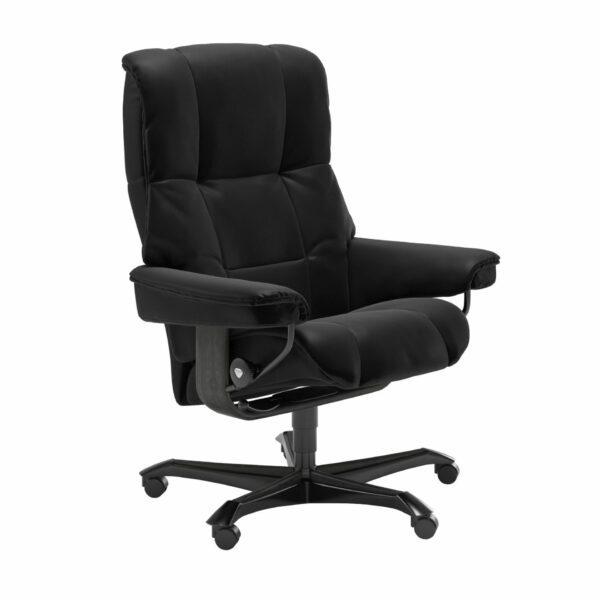 Stressless Mayfair Home Office – Leder Batick Black mit Untergestell Grau