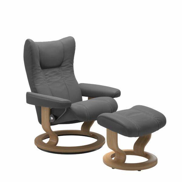 Stressless Wing Sessel Classic mit Hocker – Leder Batick Grey und Untergestell Farbe Eiche
