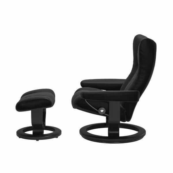 Stressless Wing Sessel Classic mit Hocker – Leder Batick Black und Untergestell Farbe Schwarz