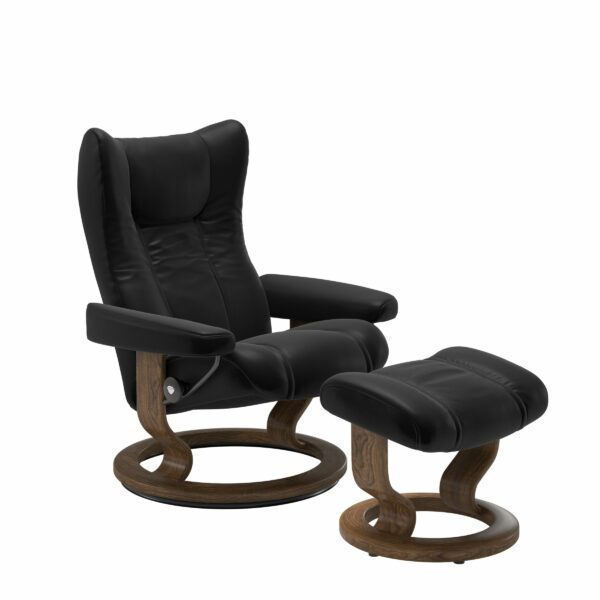 Stressless Wing Sessel Classic mit Hocker – Leder Batick Black und Untergestell Farbe Teak