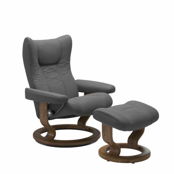Stressless Wing Sessel Classic mit Hocker – Leder Batick Grey und Untergestell Farbe Teak