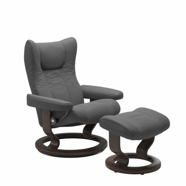 Stressless Wing Sessel Classic mit Hocker – Leder Batick Grey und Untergestell Farbe Wenge