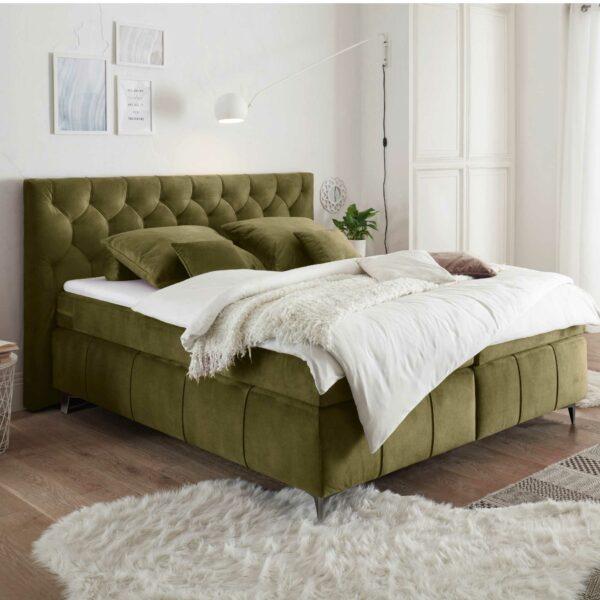 Trendstore Beth Boxspringbett in der Farbe Olive Wohnbeispiel