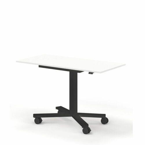 Nowy Styl eModel 2.0 mini mit Tischplatte weiß, Metallgestell schwarz und mit Rollen