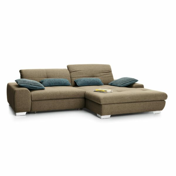 set one by Musterring Ecksofa SO 1200 in Pale Brown – Ottomane rechts
