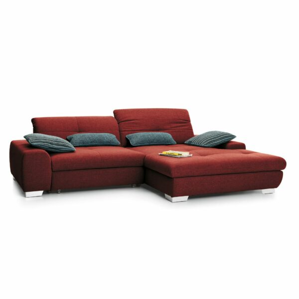 set one by Musterring Ecksofa SO 1200 in Flame Red – Ottomane rechts