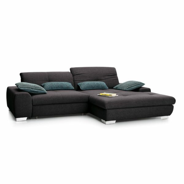 set one by Musterring Ecksofa SO 1200 in Grey Brown – Ottomane rechts