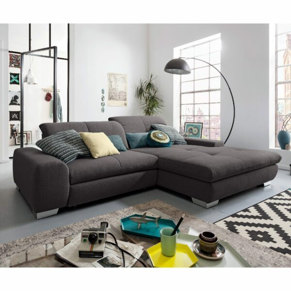 set one by Musterring Ecksofa SO 1200 in Grey Brown – Wohnbeispiel
