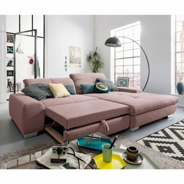 set one by Musterring Ecksofa SO 1200 in Pastel Violet – Schlaffunktion