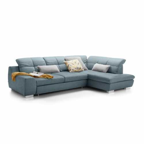 set one by Musterring Ecksofa SO 1200 in Pigeon Blue – Ottomane rechts